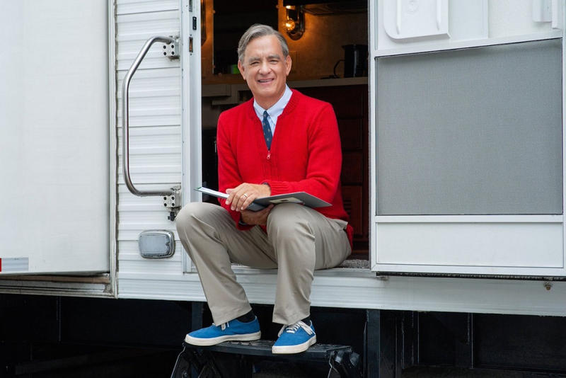 first picture shot tom hanks mister mr rogers biopic sony twitter 2018 september 2019 movie film october release date