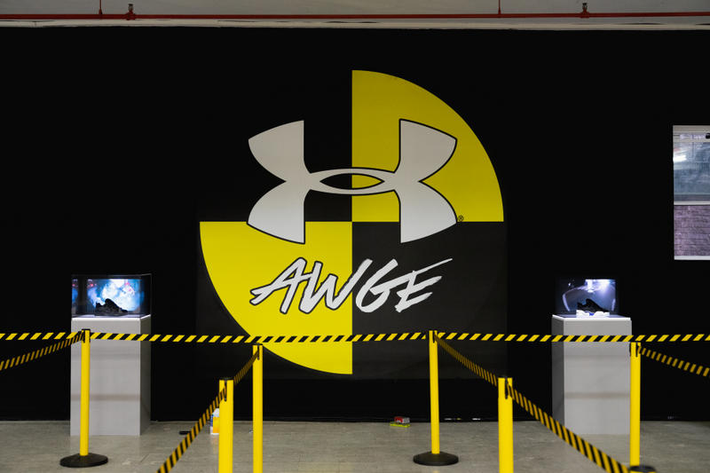 asap rocky under armour awge harlem pop up event inside exclusive photo harlem sneaker collaboration skate park testing logo queue drop release date info september 14 2018