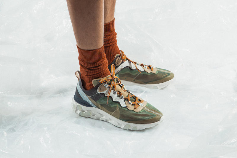 UNDERCOVER Nike React Element 87 On Foot Look Red Green White Blue Maroon Red Brown Clear Orange Neon Jun Takahashi