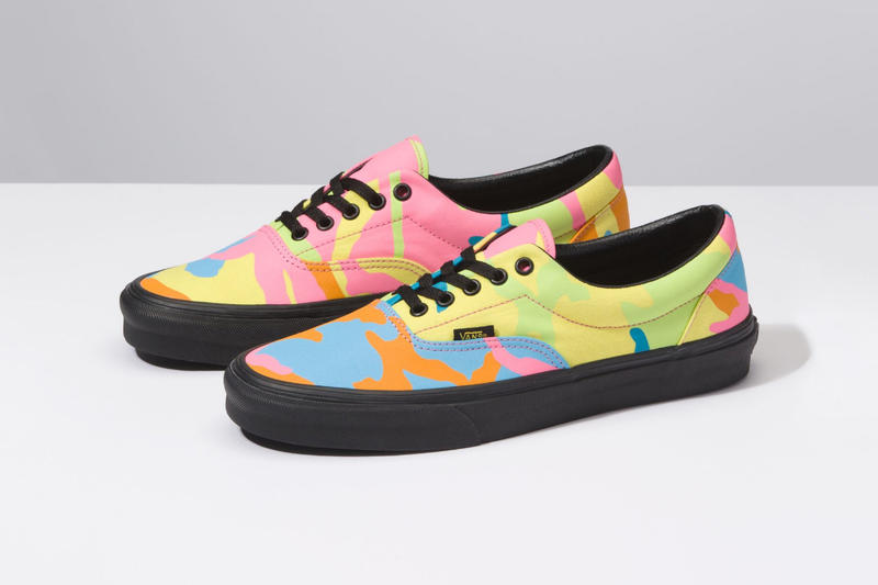 4975c6bc53c Vans neon camouflage era sneakers black midsole laces yellow pink orange  shoe mens womens release drop