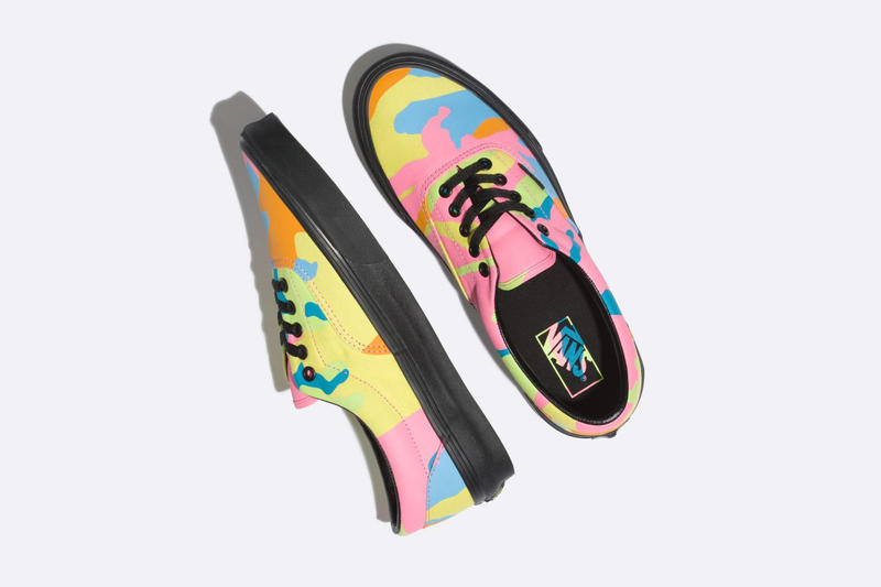 Vans neon camouflage era sneakers black midsole laces yellow pink orange shoe mens womens release drop info buy sell