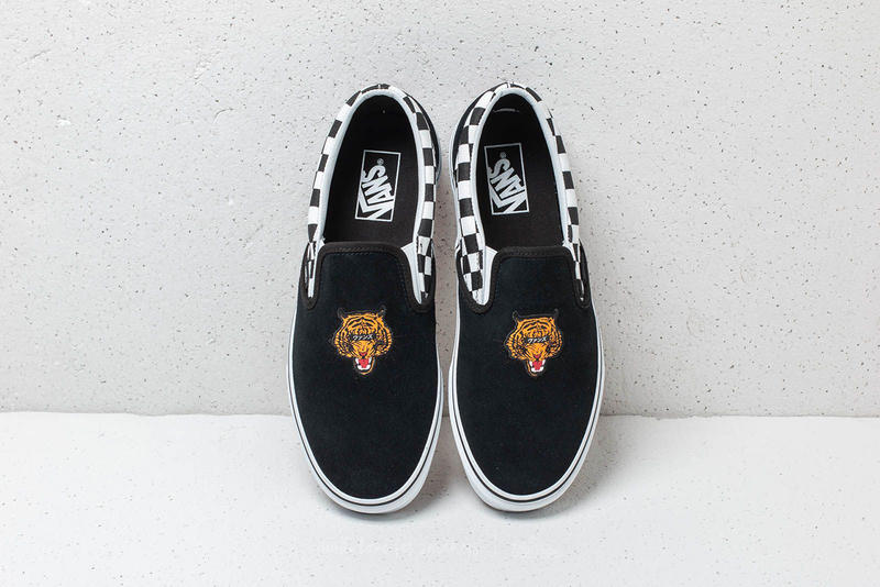 vans slip on skate hi tiger check reissue colorway black suede checkerboard  monochrome embroidery japanese katakana b3c2711b8c95