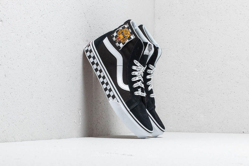 vans slip on skate hi tiger check reissue colorway black suede checkerboard monochrome embroidery japanese katakana text print