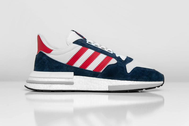 size? adidas Originals ZX 500 RM Navy White Blue Premium Suede Mesh BOOST release information buy now cop trainers sneakers