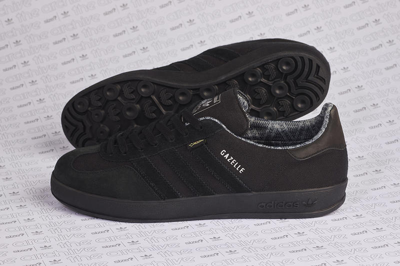 new style cbad6 9adef adidas originals gazelle indoor size gore-tex all black colorway release  information first look