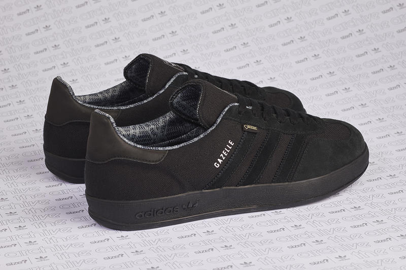 aa4336b1e52845 adidas originals gazelle indoor size  gore-tex all black colorway release  information first look