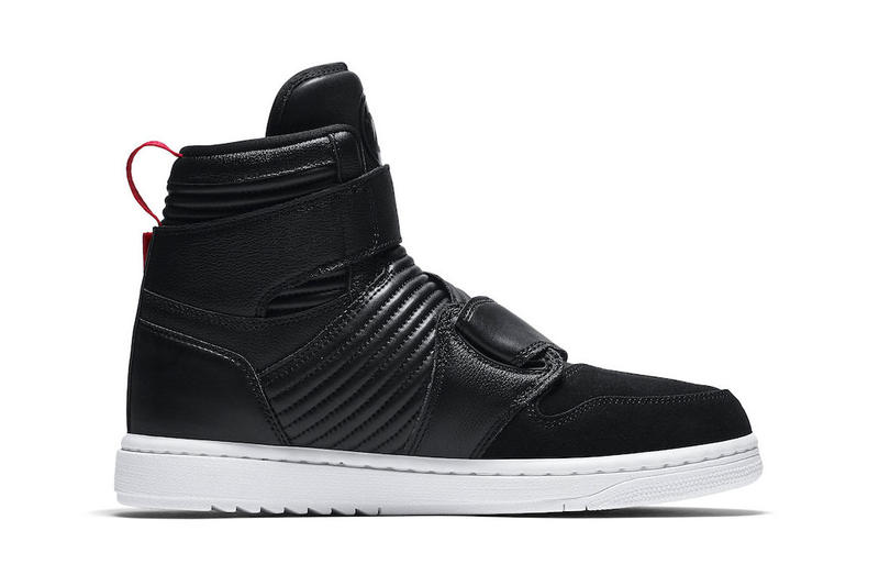 """Air Jordan 1 Moto """"Bred"""" colorway sneaker Release Date black red leather Bred White Straps Info"""
