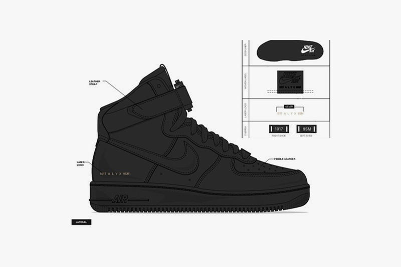 ALYX STUDIO x Nike Air Force 1 Collab Teaser Shoes Kicks Trainers Sneakers Footwear High Tops Hi's Mock Up