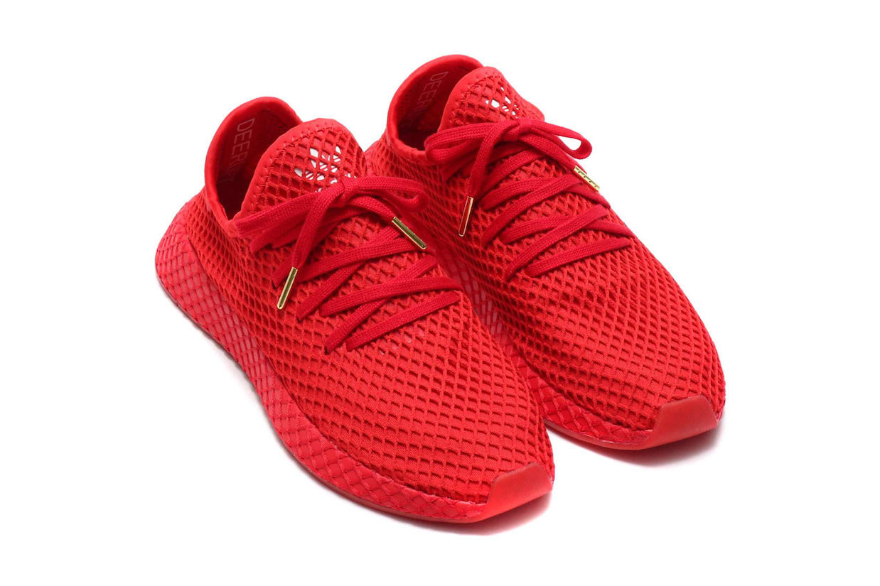 atmos x adidas Deerupt All-Red Release