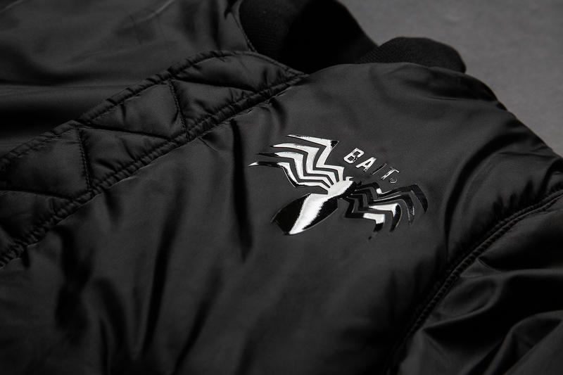 BAIT Marvel PUMA Cell Venom black white movie film release info alpha industries ma-1 bomber jacket