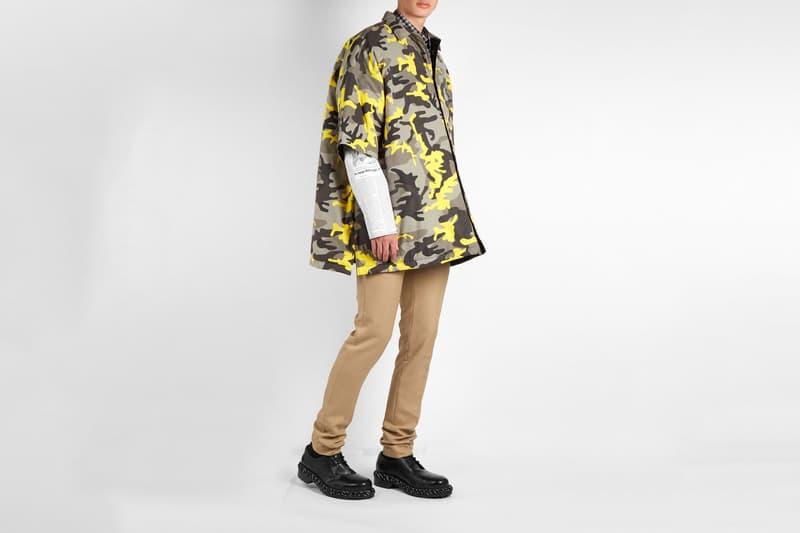 balenciaga camouflage padded shirt brown yellow grey 2018 fashion