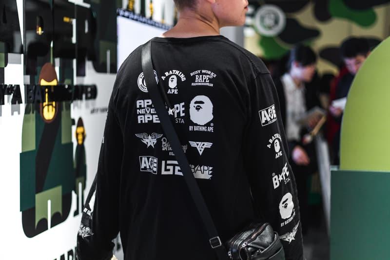 """BAPE XXV"" Street Style tokyo japan a bathing ape 25th anniversary exhibition nigo sk8thing james bond stash streetsnaps photography"