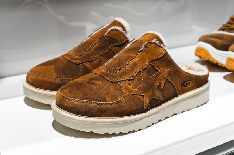 BAPE a bathing ape UGG Collaboration First Look sneakers boots slides jacket Australia japan tokyo bape 25th anniversary bape xxv