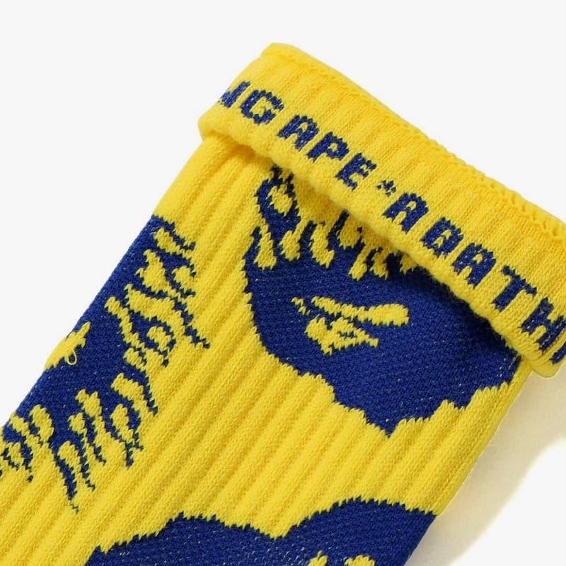 BAPE Fire Pattern Gear for Fall winter 2018 fire ape head logo yellow blue black read sweater socks a bathing ape