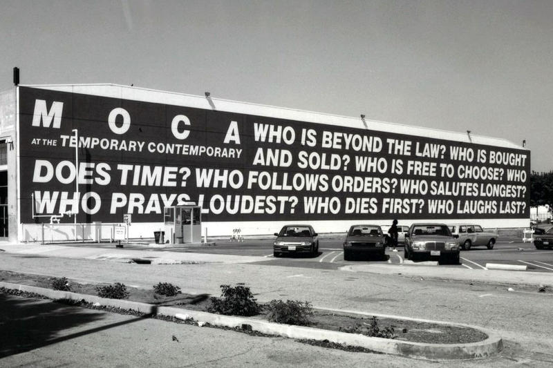 barbara kruger question untitiled moca museum contemporary art los angeles reinstall 1990 election vote artwork mural type text 2018 october