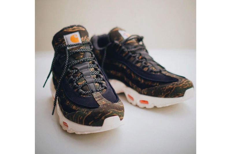 fb43be343c42 Carhartt Nike Air Max 95 First Look Black Orange Camo Ripstop