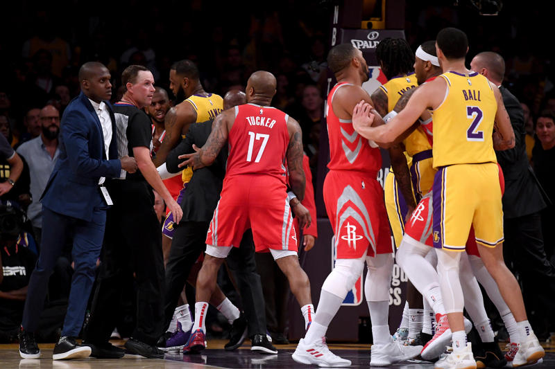 rajon rondo chris paul los angeles lakers houston rockets staples center basketball game video athletes