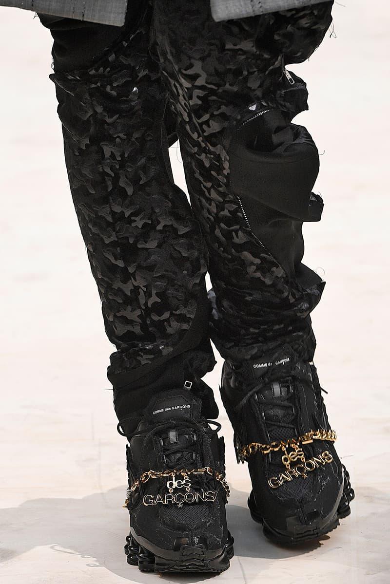 COMME des GARÇONS Nike Shox SS19 sneaker chain jewelry bling spring summer 2019 paris fashion week luxury release date info price CdG