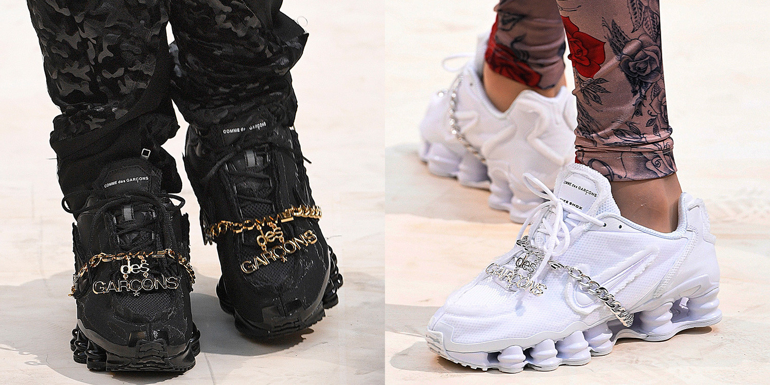 1e47792ce3c3 COMME des GARÇONS has launched a brand new Nike Shox sneaker through its  Spring Summer 2019 womenswear show at Paris Fashion Week. Continuing its  number of ...