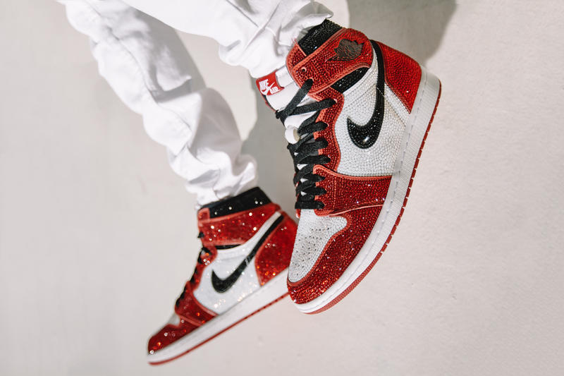 dan life crystal encrusted air jordan 1 chicago giveaway contest raffle footwear shoes sneakers swarovski