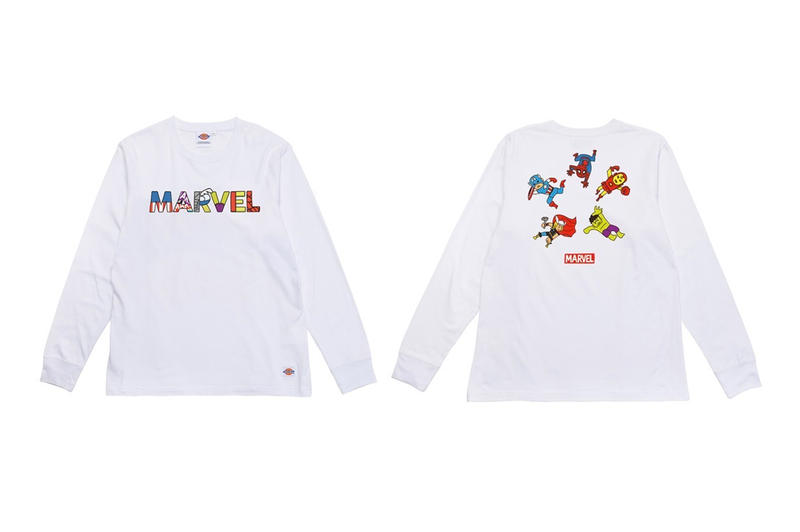 Dickies Marvel Comics Fall Winter 2018 Collection Hulk Thor Spiderman texas captain marvel captain america hoodies shirts collaboration kids cute playful