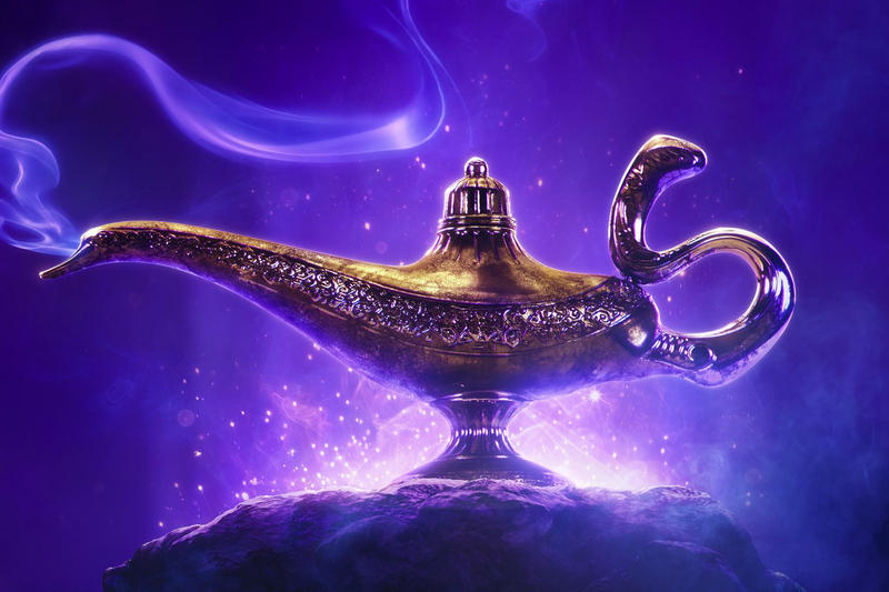 Disney 'Aladdin' Live-Action Movie Poster will smith the genie musicial film release date may 2019 cast jasmine jafar Mena Massoud Naomi Scott