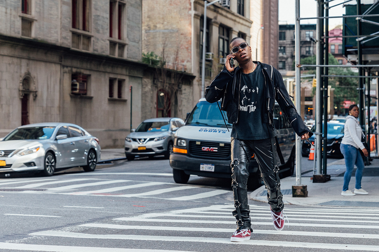 ev bravado streetsnaps style interview outfit dries van noten sean clay rumors of war king combs virgil abloh heron preston noir bondage leather vans custom diy collection handmade vintage