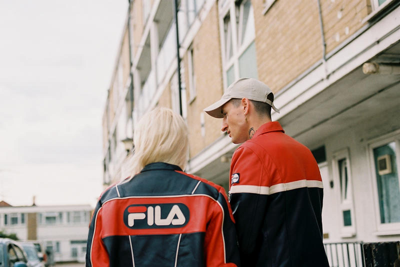 FILA x Schott Fall/Winter 2018 Collaboration Collab Fashion Clothing Lookbook Cop Purchase Buy Red Blue White Colorway Leather Sherpa Bomber Jackets Coats Motorsports Ducati Sportswear