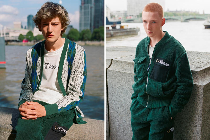 Thames Fred Perry Fall Winter 2018 Capsule Collab Collaborative Fleece Bomber Jacket Track Pants Argyle Cardigan Quilted Waxed Colourblock Jumper Zip Neck Sweatshirt Long Sleeve Ringer T shirt