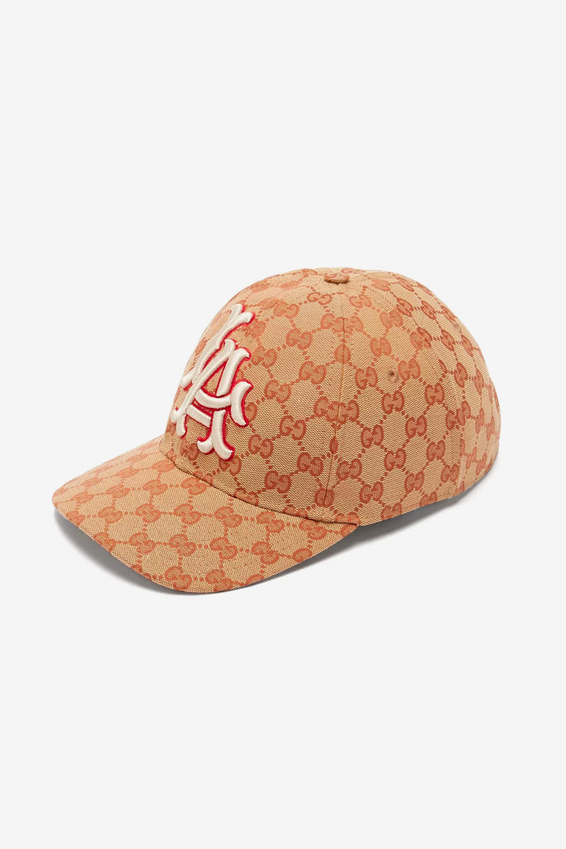 6e06f9dc285 Gucci Los Angeles Dodgers Edition GG Supreme Patch Cap Release Info Date Brown  White LA Red
