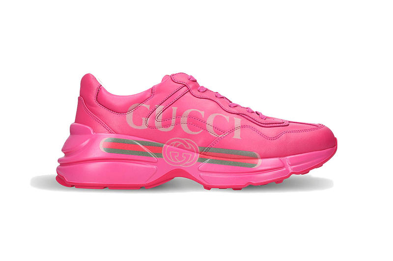 gucci rhyton logo leather sneaker pink 2018 footwear
