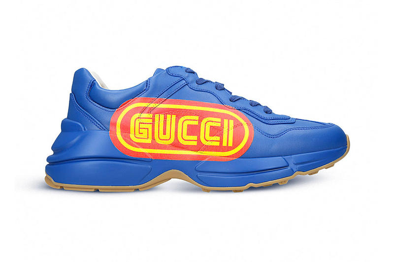 c5facfbff2a Gucci Rhyton Sneaker SEGA Blue Release Red Yellow Fall Winter 2018  Alessandro Michele Logo Leather