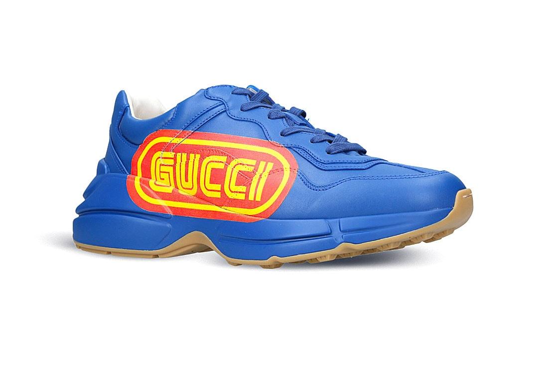 91ed375d1 Gucci Rhyton SEGA Leather Sneaker Blue Release   HYPEBEAST
