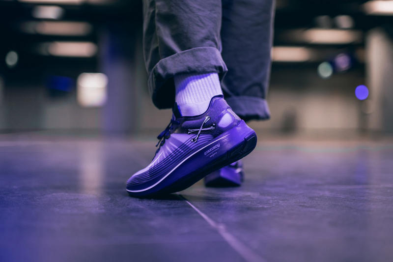 nike gyakusou zoom fly sp collaboration sneaker shoe colorway undercover purple blue white black skull on foot drop release date october 18 2018