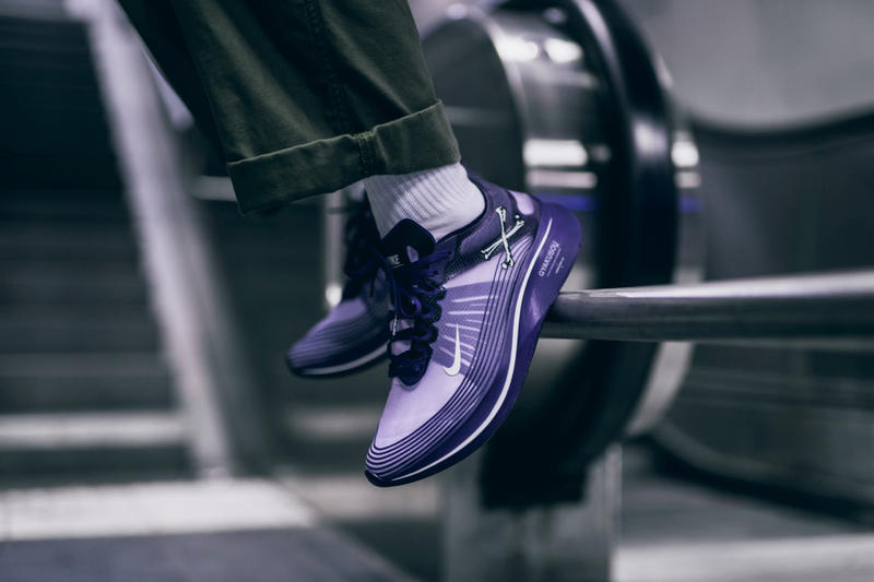 d4757c70159 nike gyakusou zoom fly sp collaboration sneaker shoe colorway undercover  purple blue white black skull on