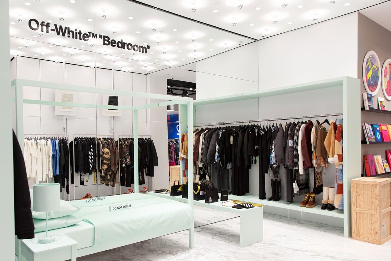 Elegant Off White Hirshleifers Virgil Abloh Bedroom Shop In Shop Exclusive Event  Manhasset