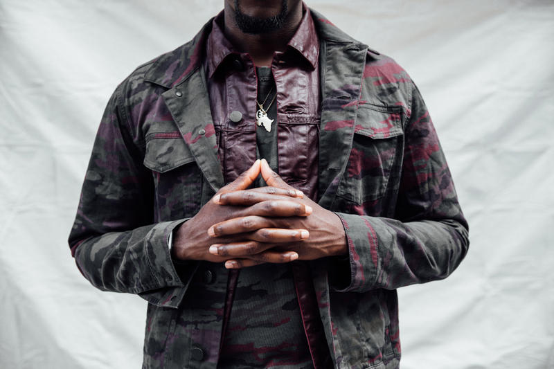 Joshua Kissi x Neiman Marcus J Brand, Joe's Jeans, PRPS, rag & bone street style street etiquette camo color block wool winter gear waxed cotton jacket ripped denim rugby shirt