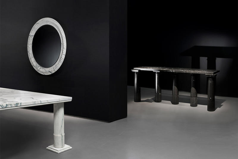 Karl Lagerfeld Sculpture Exhibition Inside Closer Look Marble Fountains Tables Mirrors Design Art Exhibits Exhibitions Whats On Paris Carpenters Workshop Gallery
