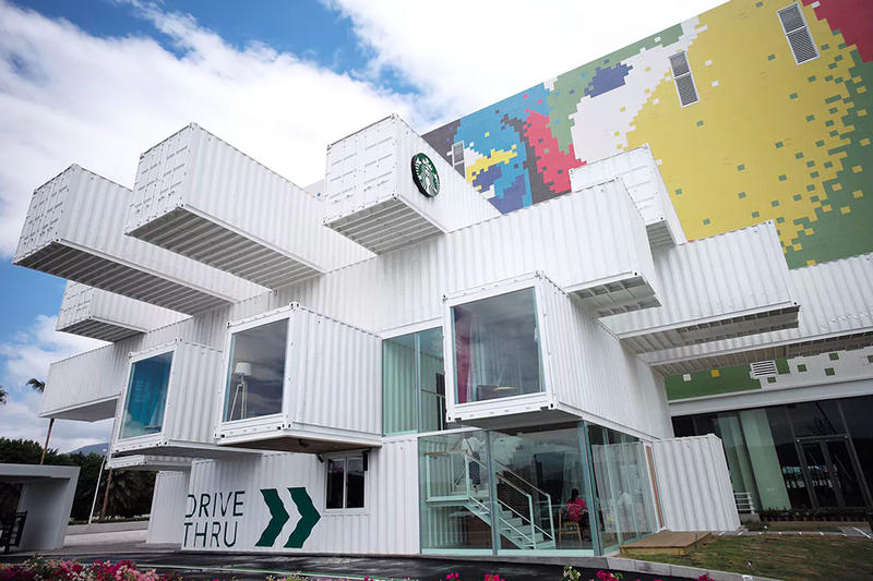 Starbucks Shipping Containers construction Taiwan Hualien Bay Mall architecture