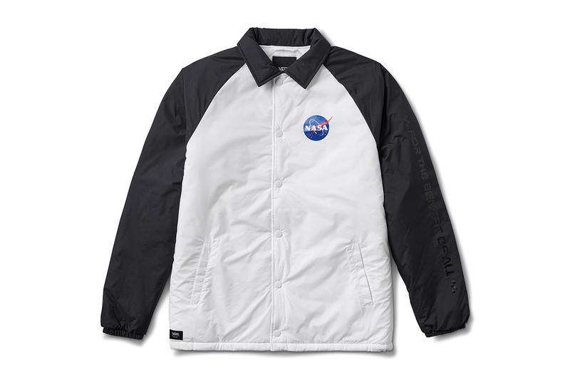 NASA Vans Collaboration Collection Official Images pictures sneakers clothing bag hoodie coaches jacket tee shirt black white astronaut voyager Space Torrey Padded MTE jacket apollo 11 Snag Plus Backpack grind skate duffel 60 years space voyager