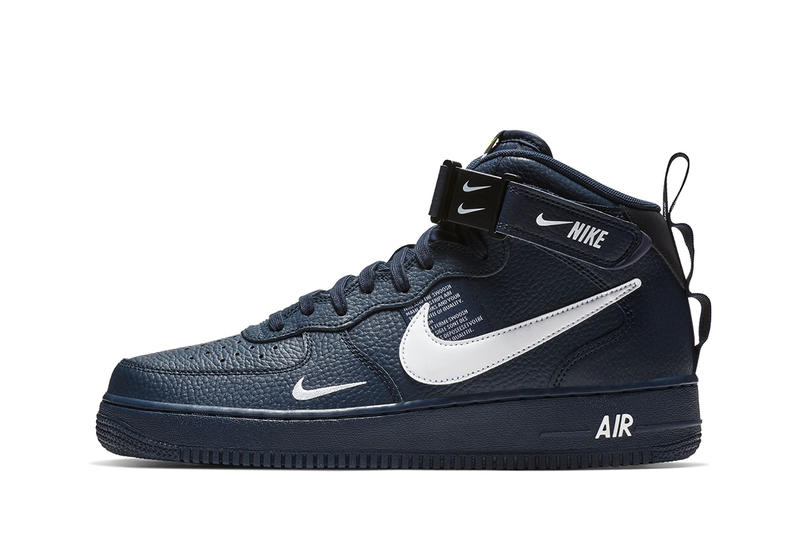 Nike Air Force 1 mid navy leather white swoosh branding sneakers fall 2018