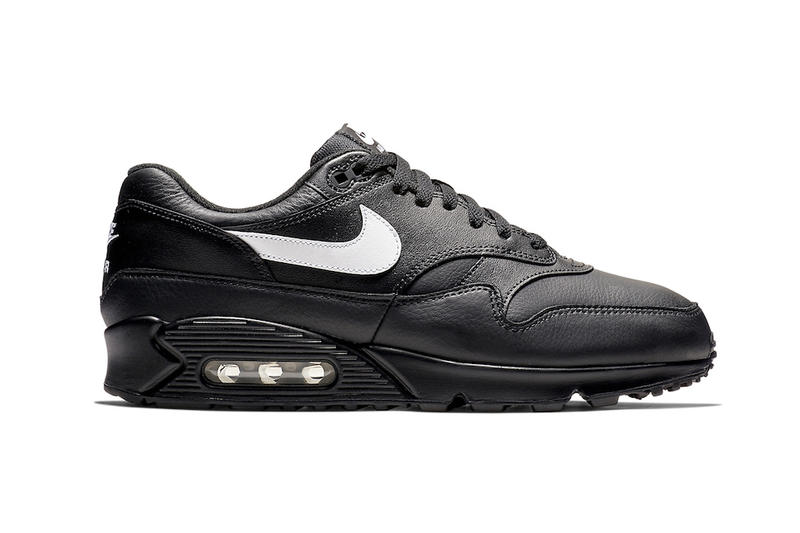 "sports shoes 2075e dc9e6 Nike Drops the Air Max 90/1 in ""Black Leather"" 