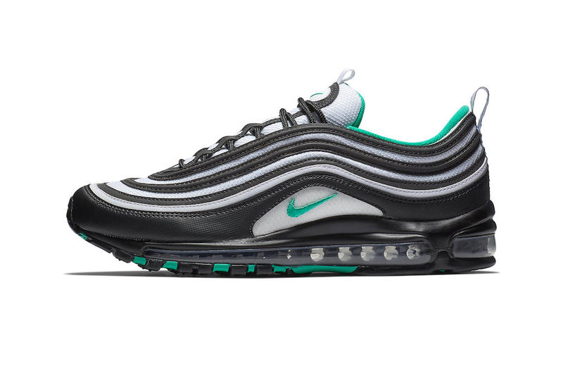 save off bab2e 83168 Nike Air Max 97 Emerald Green white black leather mesh release info sneakers