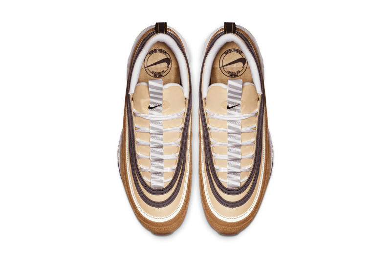 "Nike Air Max 97 ""Elemental Gold"" Barcode Sole unit colorway release date info ALE BROWN / BLACK - ELEMENTAL GOLD"