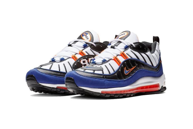 nike air max 98 white deep royal blue total orange black 2018 november nike sportswear footwear