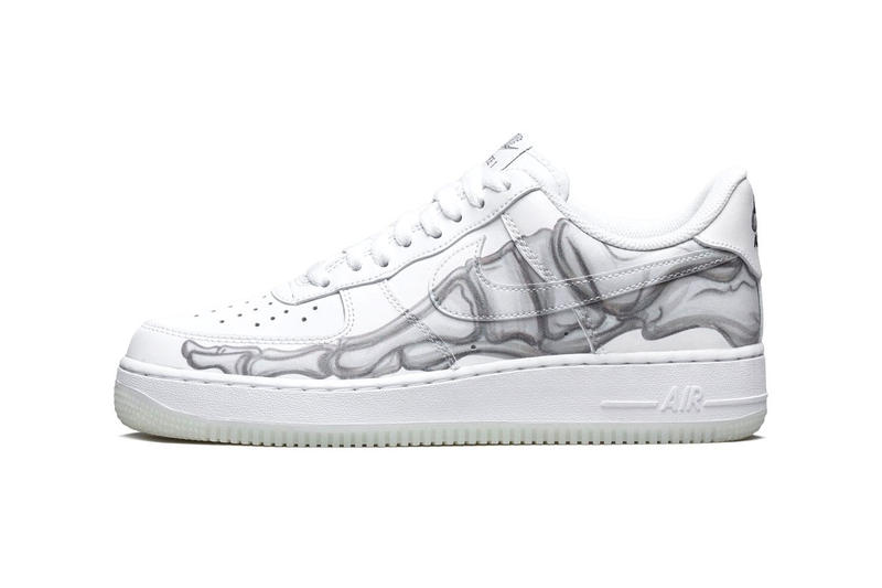 03503b8ed2 Nike Halloween Air Force 1 Skeleton Official Look Glow in the dark White