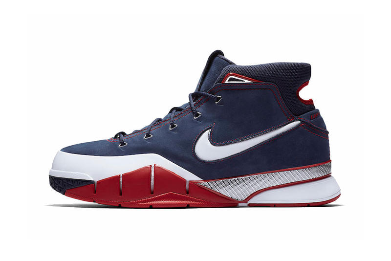 8a3f16011d08 Mixing navy suede and white leather. nike kobe 1 protro 2018 nike  basketball footwear kobe bryant red ...