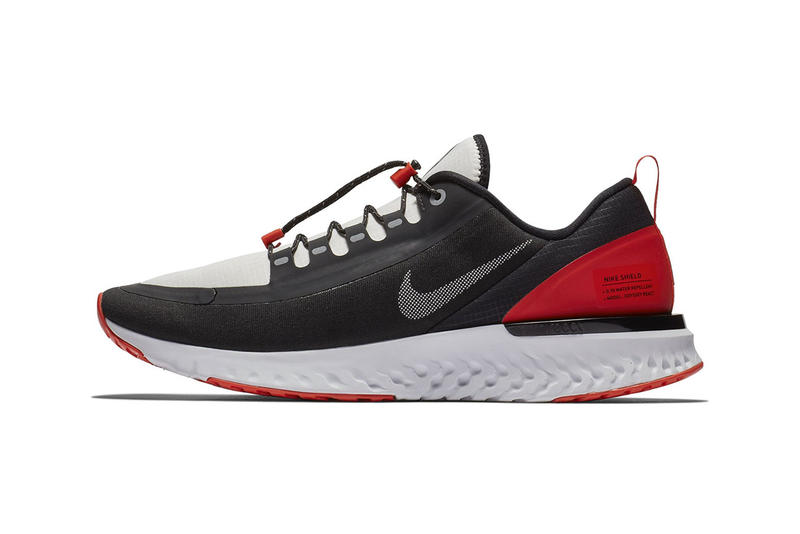 """Nike Odyssey React Shield NRG """"Black/Habanero Red"""" release date info price sneaker colorway running sportswear runner traction"""