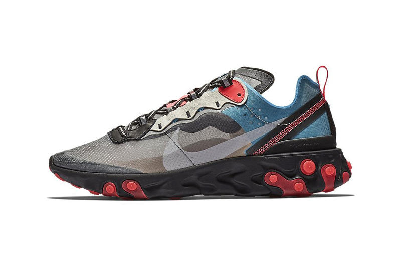 "Nike React Element 87 ""Blue Chill/Solar Red"" Release Date info sneaker colorways black grey price purchase buy online"