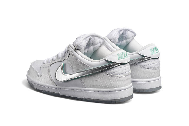 "Diamond Supply Co. Nike SB ""Diamond"" Dunk Low release complexcon white black diamond nicky diamond"